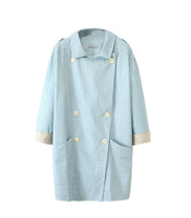 Fasot Fall Women's Long Beltless Cool Twill Swing Trench Coat Fitted Raincoat  Free shipping