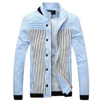 2015 new winter jacket ,patchwork striped men coat flesh color slim fit hig quality men jacket free shipping