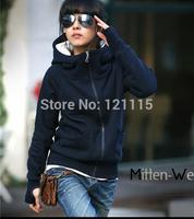 Retail 2014 Autumn and winter Long sleeve hoodie cardigan Gloves-Sleeve Full zipper sport coat sweatshirt