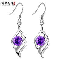 925 silver feather earrings female fashion earring holder long design gift girlfriend gifts