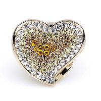 Free shipping Rhinestone brooch fashion jewelry hearts zircon love now drop purple bell buckle champagne