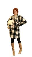 Fasot Women's Winter Duster Warmest Plaid Ruffled Wool Coats Tweed Peacoat   Free Shipping