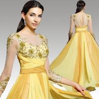 Dorisqueen free shipping 2015 new arrival 31245 long Beaded applique ruffle floor length Long Formal long sleeve evening dress