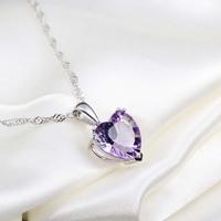 925 Women amethyst silver pendants necklace all-match fashion silver jewelry gifts girlfriend birthday gift jewelry