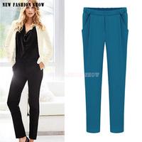 European American Fashion 2014 Autumn Winter New Full Length Casual Trousers Harem Pants Women Work Wear Women's Pant 2038