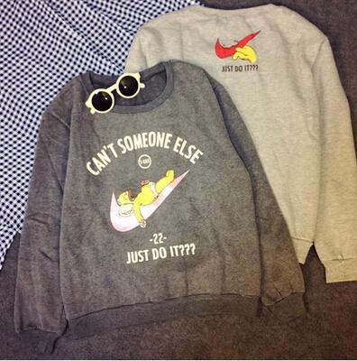 2015 New Plus Velvet Thick Warm Sweatshirt Baggy Casual Female Cartoon Printing Sweatshirt Large Size Women(China (Mainland))