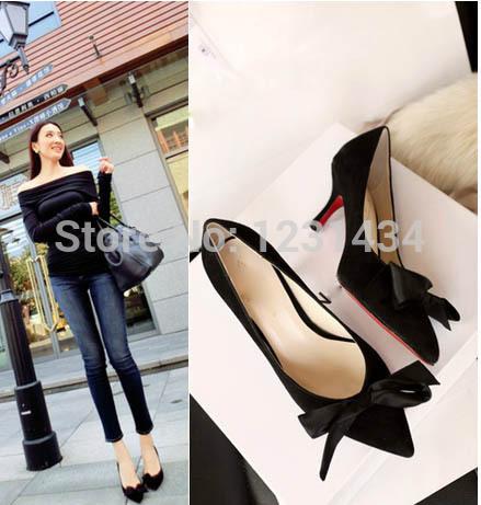 O novo 2014 mulher sapatos lady satin bow coringa apontou sapatos altos(China (Mainland))