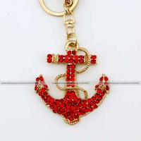 Fashion red ruby rhinestone crystal anchor Keychain Alloy ring Bag purse package Charm chain jewelry accessories pendant