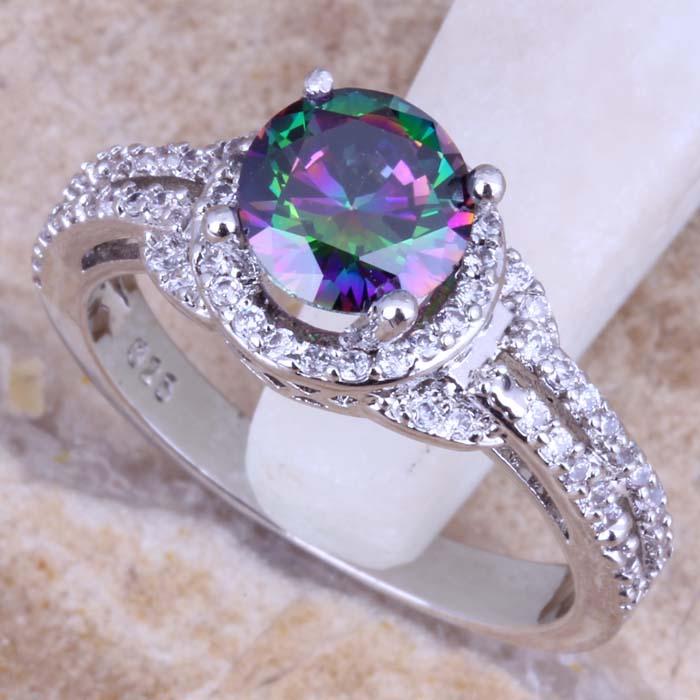 Precious Rainbow Mystic Topaz White Topaz 925 Sterling Silver Ring For Women Size 5 6 7