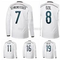 New Fashion 2014 Champions patch 4 stars NEUER MULLER OZIL PODOLSKI SCHURRLE KROOS REUS Red Black White Long SLEEVE Soccer Jerse
