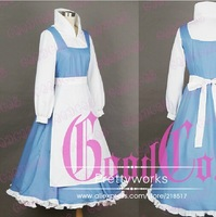 Free shipping New brand Halloween Clothes Fairy Tale Beauty and The Beast Belle Cosplay Costume Shirt&Derss&Apron&Bowknot h-0523