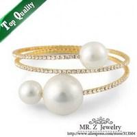 Free Shipping Graceful Women Rhinestone Pearl Bangle Bracelet Fashion Jewelry 5pcs/lot