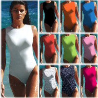 2014 New Arrival Sexy Backless Womens One Piece Swimsuit Candy Colors Swimsuit Lady/Girls Cut Out Bathing Suit Monokini Free P&P