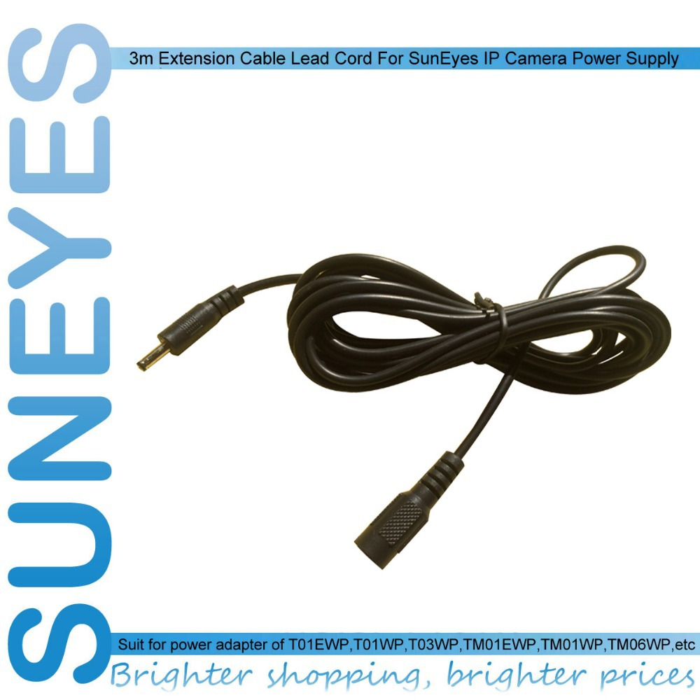 SunEyes 3m Extension Cable Lead Cord For IP Camera Power Supply AC/DC Adapter Extension Cable 5V Power Adapter 3.5mm/ 1.35mm(China (Mainland))