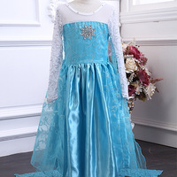 Retail New 2014 High quality lace embroidery flowers girl long sleeve dress Frozen New girl children dress  free shipping