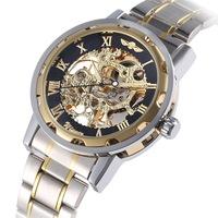 2014 New Winner Watch Fashion Stainless Steel Skeleton Wind-up Mechanical Wristwatch For Men
