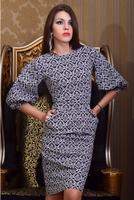 hot sale women vestidos 2014 new fall fashion ladies dress round neck Puff printing work wear knee-length dress free shipping