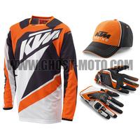 Top Quality KTM Long Sleeve Jersey Cap Gloves for Men Male ATV MX Motorbike Motorcycle Motocross Gloves Hat Shirt Combination