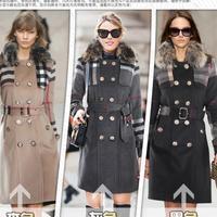 Hot Selling 2014 New British Style Women Fur Coat Long Trench Coat Plaid Windbreaker Black/Beige/Gray Clothing Free Ship W1370