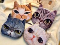3D printed Cute Animal Cat Plush Coin Purse Change Purses Mini Walle Small Purses Card Bag for girls & lady hand bag 5pcs/lot