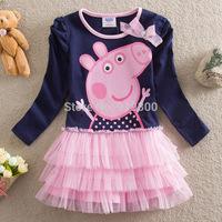 Fashion Girls Cartoon Lace Dress Peppa Pig Cupcake Dress Cotton Long Sleeve Tutu Dress Baby Kids Clothing Princess Dress