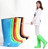 Hot New Fashion Colorful Glossy Tall Rain Boots Women Girls Flat Heels Waterproof Rainboots Branded Water Shoes Size 35-41#TS180