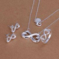 S171 925 sterling silver jewelry set, fashion jewelry set Heart To Heart Bracelet Necklace S171 /algajcna gbkaosra