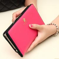 99 Time-hot sell new fashion Korea fresh style zipper wallet women,cute crown hasp open leather wallet,long ladies purses