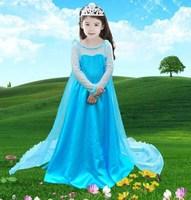 2014 New Autumn Frozen Dress Fashion Princess Girls Dresses Elegant Long Maxi Dress Baby Girl Elsa Dress 5 pcs / lot 1322