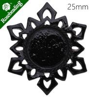 25mm resin cabochon,black,snowflake shape,fit 25mm glass cabochon,pretty look,sold 20pcs/lot-C4282
