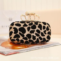 Best New Arrival Women's Leopard Grain Party Clutch Bag Size 19L*5W*11H (cm)  Skull Knuckle Ring Clasp Lady's Evening Clutch Bag
