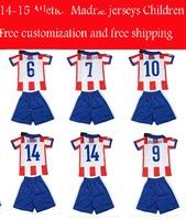 2014/15 GRIEZMANN kids jerseys MANDZUKIC ARDA KOKE GABI SIMEONE football jersey + shorts kits,soccer uniforms embroidered logo