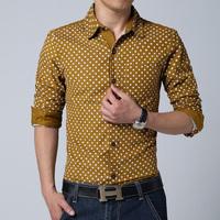 Man Casual-Shirt Spring 2014 Mens Fashion  Dress Shirts Point Brand Business Camisa Social Masculina Long-Sleeve Shirts