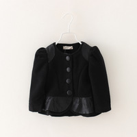 Baby Girls Casual Solid Outerwear Fashion New Winter 2014 Puff Sleeve Kids Wear Single-breasted Coat Children Clothing 5pcs/lot