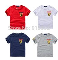2015 summer children t shirts wholesale boy girl leisure short sleeve car flag kids t-shirt 5pcs/lot