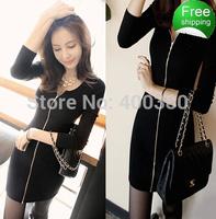 2014 slim knitted thread thickening zipper autumn and winter basi slim hip long-sleeve dress