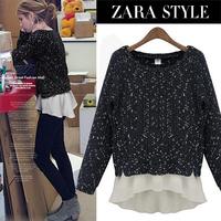 S-XL Free Shipping Fashion autumn 2013 fashion long-sleeve sweater coat patchwork loose chiffon shirt