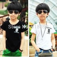 new children t shirts wholesale summer boy girl leisure skeleton short sleeve kids t-shirt tops tees 5pcs/lot