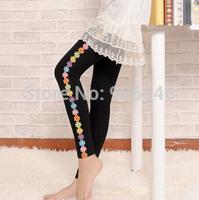 Cheap price K384 2014 autumn women leggings fashion flower on the side cozy cotton slim casual  trousers wholesale retail