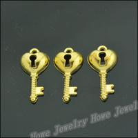 100 pcs Charms Key Pendant  Gold color  Zinc Alloy Fit Bracelet Necklace DIY Metal Jewelry Findings JC567