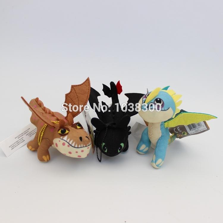 Toothless Night Fury Plush How To Train Your Dragon Keychain Plush Toy Doll Posable Wings Plush Dolls Stormfly Dragon 3pcs/set(China (Mainland))
