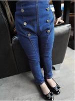 Kids Girls Jeans Vintage Denim Jeans Autumn & Winter Pencil Pants Winter Warm Thick Jeans High-Waist Jeans CW-20