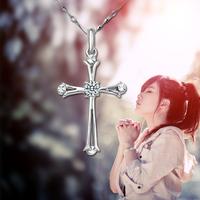 Fashion jesus cross 925 Women pendant silver necklace silver jewelry
