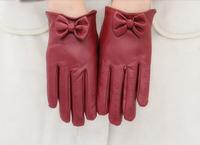 2014 women winter fashion brand ladies long sleeve gloves leather fur glove butterfly ski mttens driving luvas de inverno iglove
