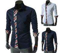 Fashion Men's Long-sleeved Slim Fit shirts  Plaid stitching  New Men's Business casual Shirts
