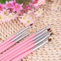 DIY Professional Pink Nail Brushes styling tools nail tools Nail Art Design Painting Tool Pen Polish Brush Set Kit 8pcs