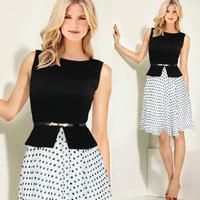 Women summer fashion elegant black and white polka dot chiffon patchwork plus size high waist one-piece dress with belt XXL