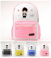 KPOP New Fashion EXO KRIS Lovely Cartoon Name LOGO Preppy Style Schoolbag Birthday Pink Black Yellow Blue Backpack QSB008