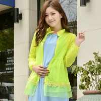 Anti-uv sun protection clothing transparent thin long-sleeve outerwear female sun protection clothing lace