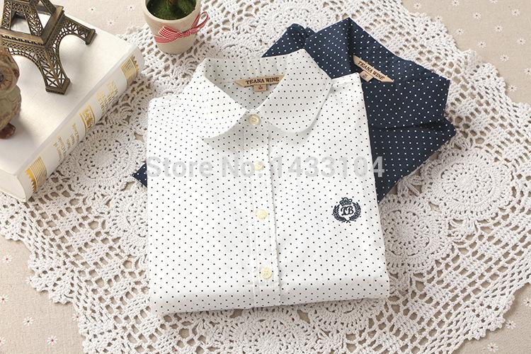 de moda nova hot casual mulheres polka dot vintage blusas blusas de algodão manga longa camisas brancas de lapela azul marinho mais xl blusas(China (Mainland))